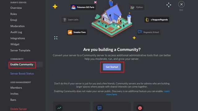 включить сервер сообщества