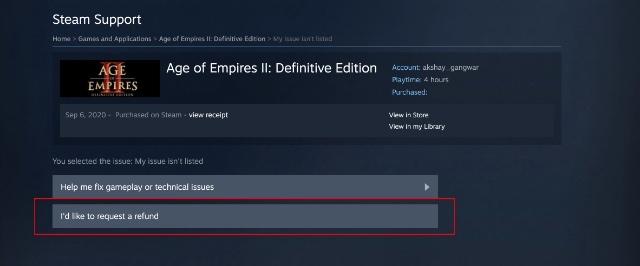 solicitar un reembolso en Steam paso 3-1