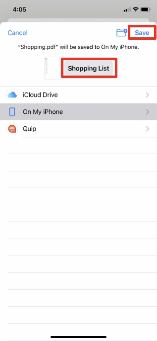 guardar recordatorios como pdf iphone paso 3