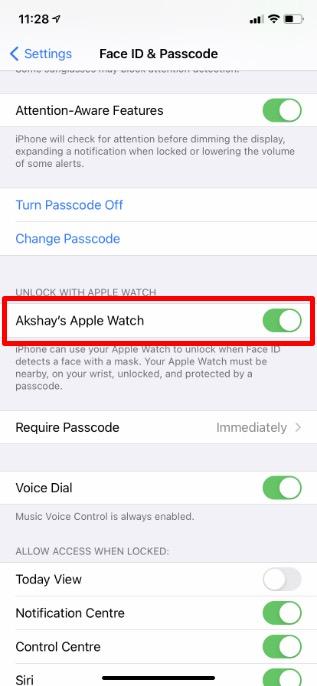 Verwenden Sie die Apple Watch, um das iPhone zu entsperren