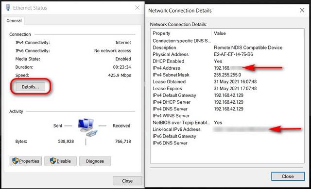 Encuentre su dirección IP en el Centro de redes y recursos compartidos de Windows