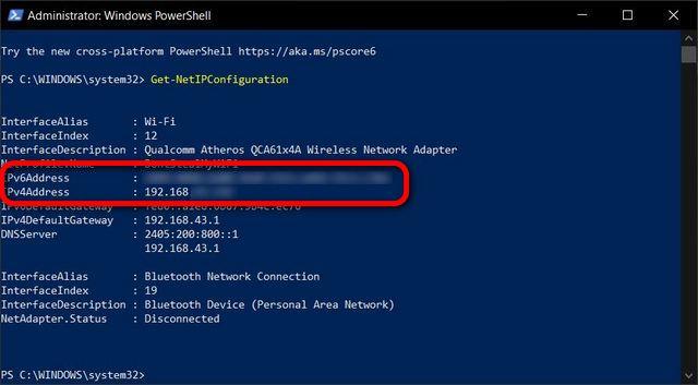 Encuentre su dirección IP en Windows PowerShell