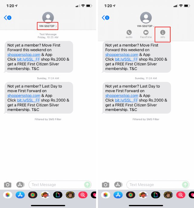 bloquear mensajes de spam iphone paso 1