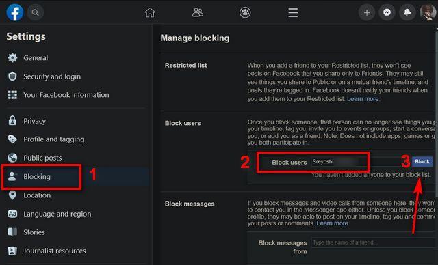 Bloquear y desbloquear a alguien en Facebook