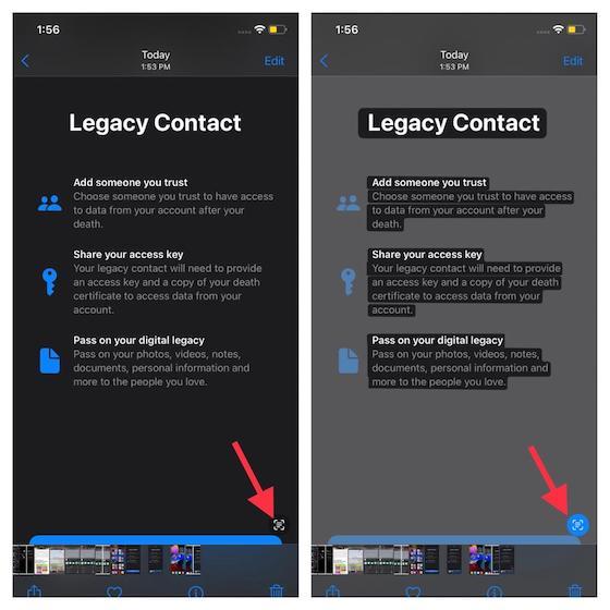 Toque el botón Texto en vivo