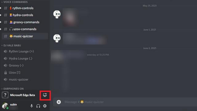Klicke auf den Stream-Button Discord