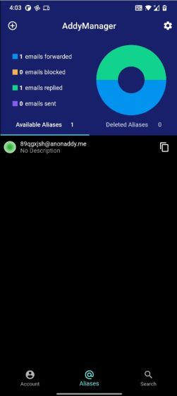 AddyManager (cliente no oficial de AnonAddy)