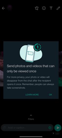 advertencia de captura de pantalla de whatsapp