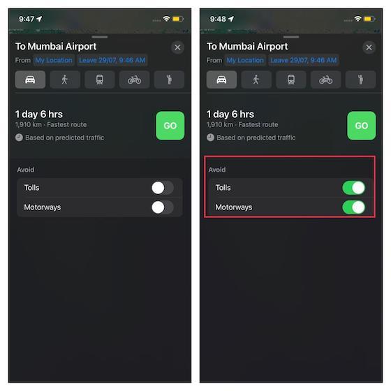 Vea el tráfico previsto según las horas de salida y llegada establecidas: cómo configurar las horas de salida y llegada en Apple Maps