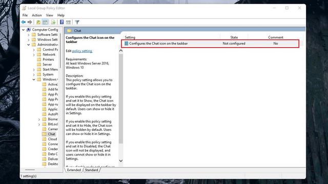 configurar el icono de chat en la barra de tareas
