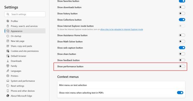 Mostrar botón de rendimiento - Microsoft Edge