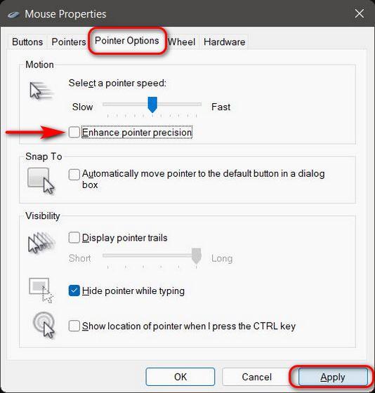 Deshabilitar la aceleración del mouse en Windows 11