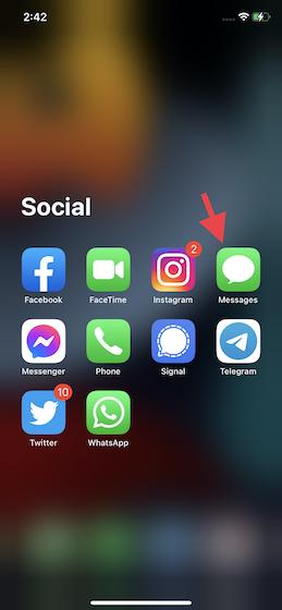 Abra la aplicación Mensajes en su iPhone o iPad