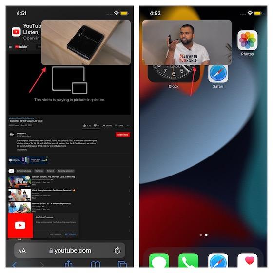 Reproduzca videos de YouTube en modo PIP de imagen en imagen en iPhone y iPad