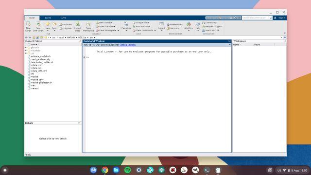 matlab ejecutándose en linux en chromebook