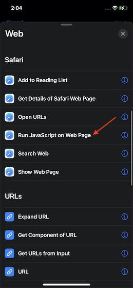 Tap-on-Run-JavaScript-on-web-page