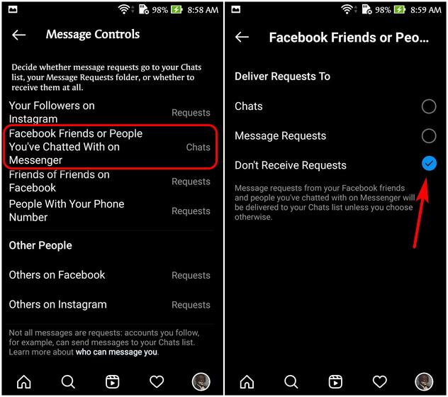 Desvincular los mensajes directos de Instagram y Facebook Messenger
