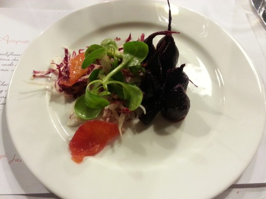 Salt baked beetroot with blood orange, fennel and winter leaves