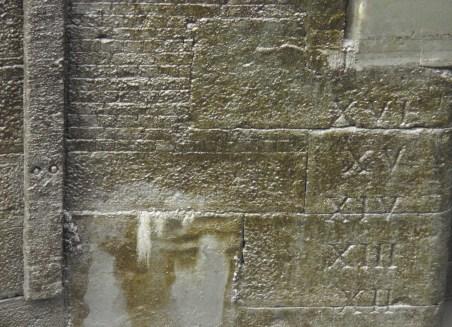 Depth markings in the lock at St Katharine's Dock