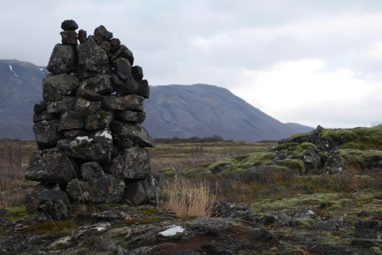 Cairn and mountains