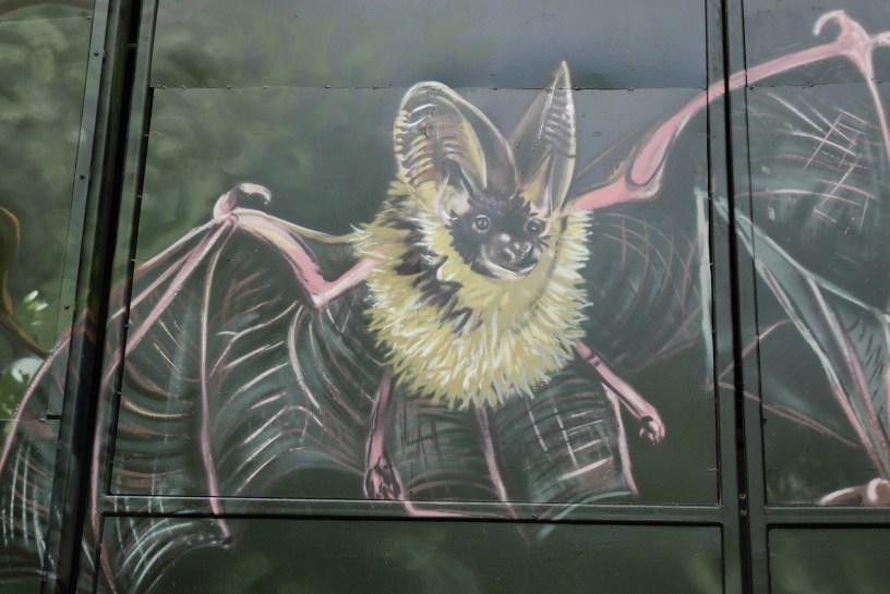 Brown Long eared bats artwork in Sydenham Hill Wood by Louis Masai