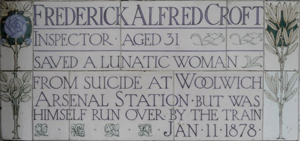 Postman's Park memorial Frederick Alfred Croft 1878