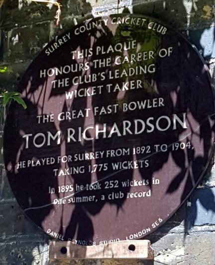 Plaque for Tom Richardson