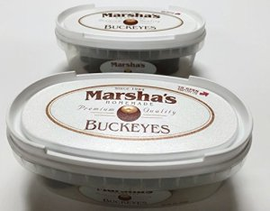 Marsha's Buckeyes - Chocolate Peanut Butter Candy, Homemade Premium Quality, Deli Containers, 2pk
