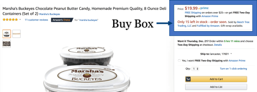 Screen shot of an Amazon product listing page with the buy box outlined
