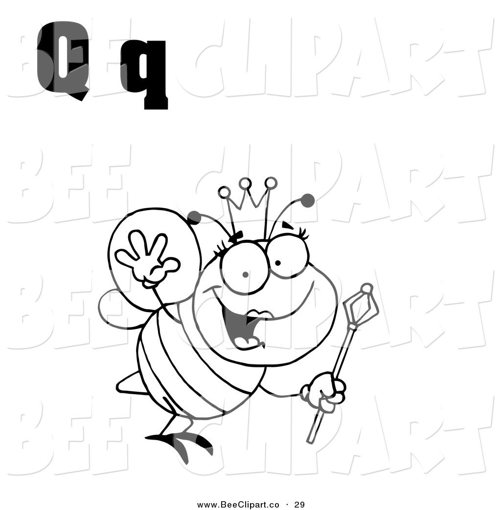Vector Clip Art Of An Outlined Queen Bee With Letters Q On