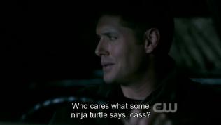 """""""Ai thèm quan tâm đến thứ mà thằng Ninja rùa đó nói chứ, Cas?"""""""