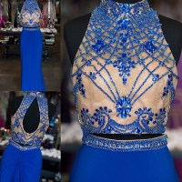Two Piece Prom Dresses,Prom Dresses 2016,Royal Blue Long ...