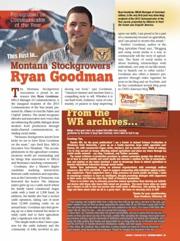 Working Ranch Magazine January article