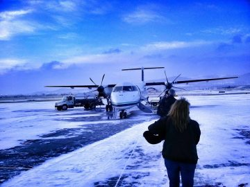 One benefit of traveling during the winter in Montana. Check out that view at the Helena airport!