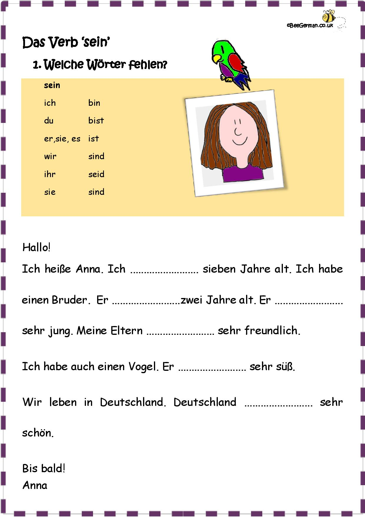 Worksheet Das Verb Sein The Verb To Be