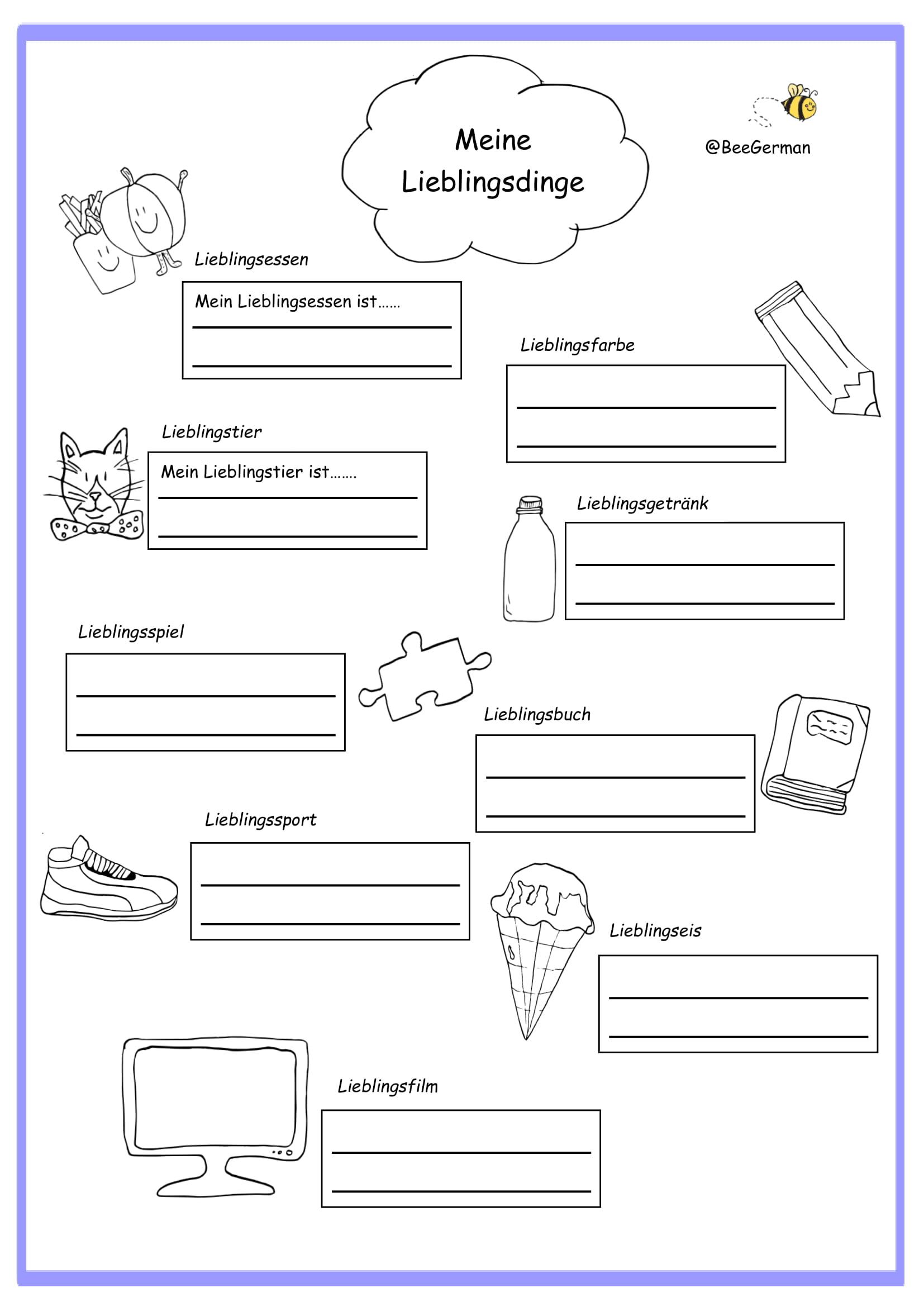 hight resolution of German worksheets for Kids - Printouts - BeeGerman