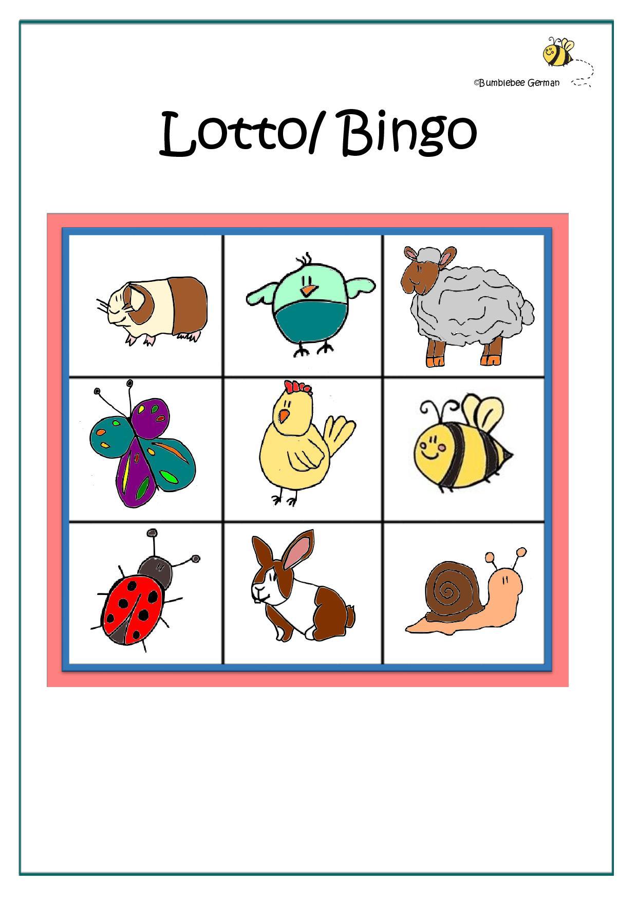 German Worksheet Animal Lotto Bingo