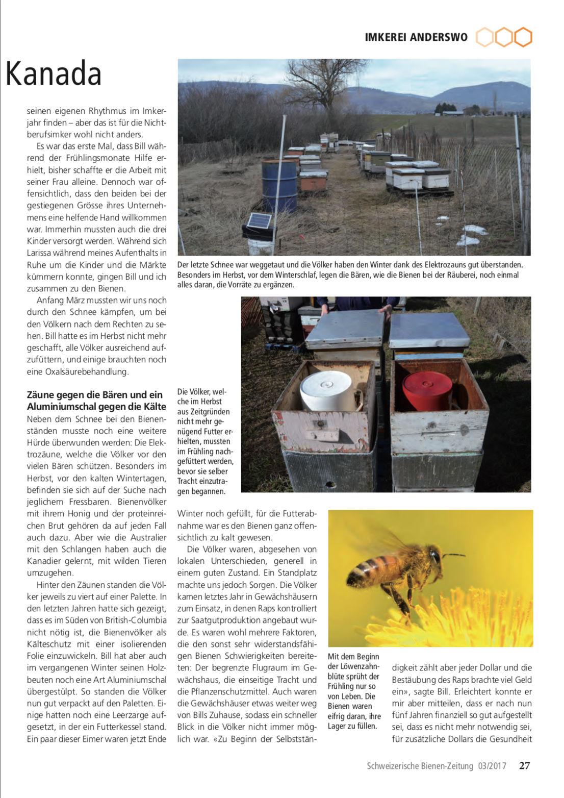 Artikel Imker auf Weltreise-dritte Station: Kanada Seite 2 Schweizerische Bienenzeitung Felix Mrowka