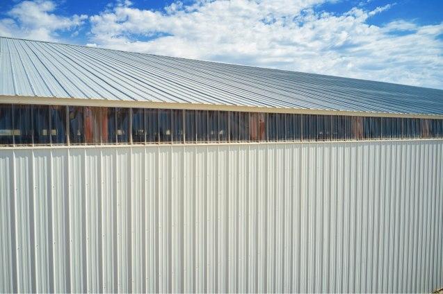 Eave lights, Ellen's Pole Barn Horse Riding Arena - Beehive Buildings - 90x200x16