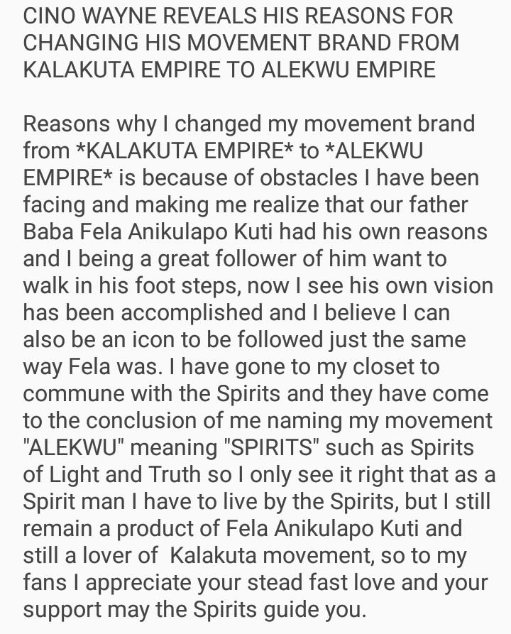 Cino Wayne, why i changed from Kalakuta to Alekwu Empire!