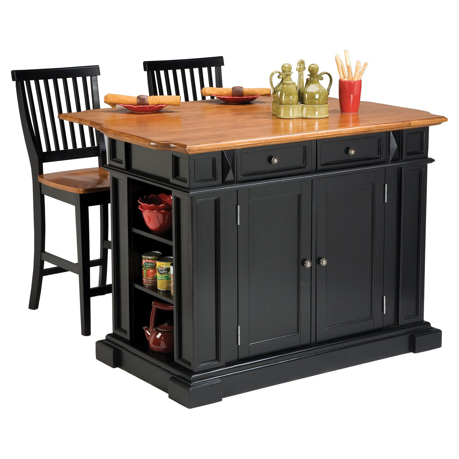 kitchen island chairs with backs cabinet colors for small kitchens the attractive black completed by back
