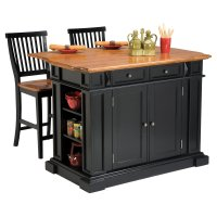 The attractive Black kitchen island completed by back ...