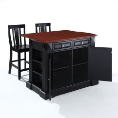 Black Kitchen Island With Seating Cupboard Doors The Attractive Completed By Back ...