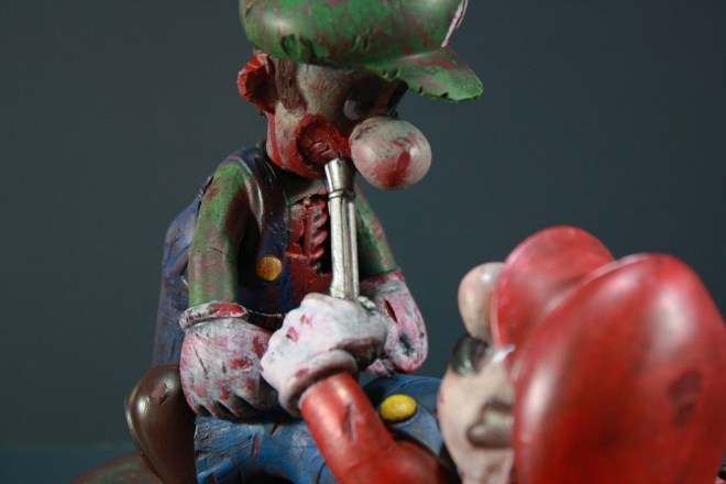 Kodykoala's Custom Zombie Luigi attacks Mario