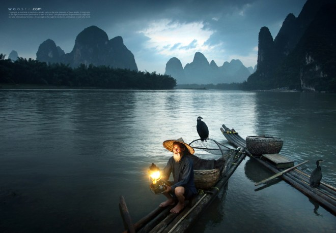 Cormorants and Old Fisherman, Guilin