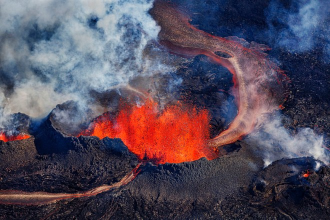 Volcano eruption at the Holuhraun Fissure near Bardarbunga Volcano, Iceland