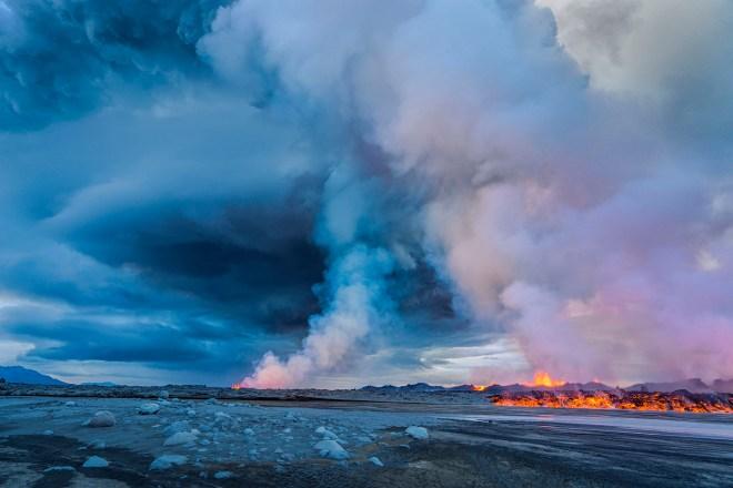 Volcano Eruption at the Holuhraun Fissure near Bardarbunga Volcano, Icela