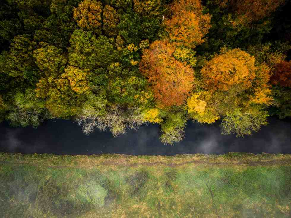 Autumn colors over the river Susaa in Denmark