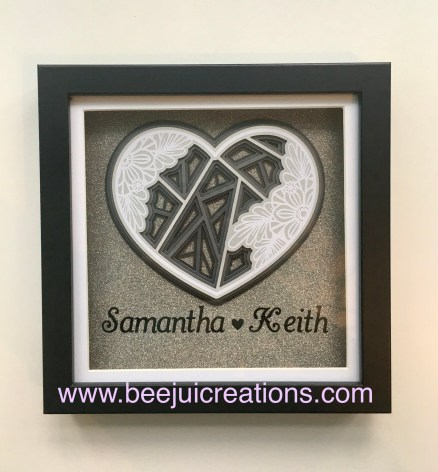 Black Personalised Heart Frame