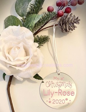 First Christmas Personalised Ornaments - Pink